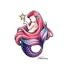 Artstation - tattoo design - ariel (the little mermaid), jason liu Mermaid Cove, Ariel Mermaid, Ariel The Little Mermaid, Mermaid Art, Little Mermaid Drawings, Disney Princess Ariel, Princess Aurora, Mermaid Tattoos, Baby Mermaid Tattoo