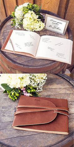 This personalized leather guest book is a unique wedding detail that you'll cherish looking at for years and years to come. Handcrafted from genuine leather, this guest book is filled with recycled jute paper and is finished with a long-stitch binding.