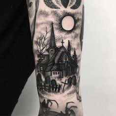 Spooky Church and Graveyard Tattoo on Forearm tattoos forearm 30 Blackwork Dark Tattoos by Merry Morgan Forearm Tattoos, Body Art Tattoos, Skull Rose Tattoos, Movie Tattoos, Cute Tattoos, Black Tattoos, Gotik Tattoo, Home Tattoo, Tiny Tattoo