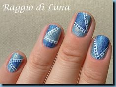 Abstract double blue holo manicure - nail design