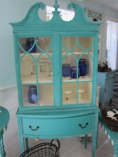 Distressed Antique China Cabinet painted with Annie Sloan paints Chalk Paint Furniture, Furniture Projects, Furniture Makeover, Diy Furniture, Laminate Furniture, Beach Furniture, Dresser Makeovers, Refinished Furniture, Furniture Design