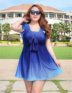 2016 Swimming Suit for Women Maillot De Bain Swimsuit Plus Size Swimwear Dress Female Push Up Bra Gradient Color Bathing Suit Plus Size Bikini Bottoms, Women's Plus Size Swimwear, One Piece Swimwear, Bathing Suit Dress, Swim Dress, Plus Size Bademode, Plus Size Dresses, Plus Size Outfits, Plus Sise