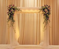 Classic Formal Romantic Purple White Ballroom Chuppah Indoor Ceremony Wedding Flowers Photos & Pictures - WeddingWire.com