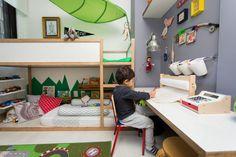 Já prevendo um segundo filho, Alessandra Amado reformou o quarto de Gael com pinceladas de verde, e deixou pronto para ser compartilhado no futuro.