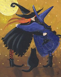 Choose your favorite halloween paintings from millions of available designs. All halloween paintings ship within 48 hours and include a money-back guarantee. Halloween Painting, Halloween Cat, Vintage Halloween, Happy Halloween, Witch Painting, Halloween Buckets, Halloween Canvas, Halloween Greetings, Halloween Witches