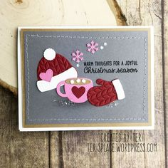 card winter christmas, clothes hat mittens cup mug cocoa marshmallows, Sunny Studio Stamps Warm & Cozy Embossed Hat, Cocoa & Winter Mittens Christmas card by Teri Anderson Homemade Christmas Cards, Christmas Cards To Make, Xmas Cards, Homemade Cards, Holiday Cards, Christmas Crafts, Cricut Christmas Cards, Christmas Ideas, Christmas Clothes