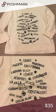 J. Crew Cali 3/4 length sweatshirt J. Crew Cali beaches 3/4 length sweatshirt. White 100% cotton with navy writing. Never worn. J. Crew Sweaters Crew & Scoop Necks