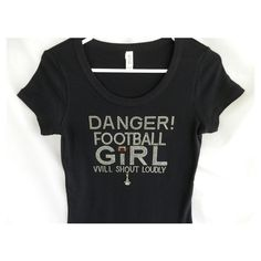 Rhinestone Football Danger Football Girl Will Shout Loudly Clear &... ($29) ❤ liked on Polyvore featuring tops, t-shirts, grey, women's clothing, brown t shirt, grey t shirt, pattern t shirt, tee-shirt and scoop neck tee