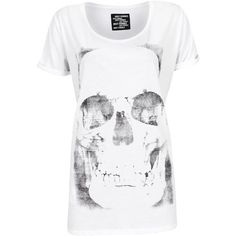 Just Female Top Skull Tee White ($49) ❤ liked on Polyvore featuring tops, t-shirts, shirts, blusas, camisetas, women, skull shirts, tee-shirt, oversized tops and oversized t shirt