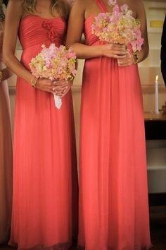 Pink maxi bridesmaids dresses! Cute!
