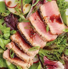 Serve a steak salad for dinner - a Seared Ahi Tuna Steak Salad. Use your favorite vinaigrette on this one - we like a gingery sesame vinaigrette.