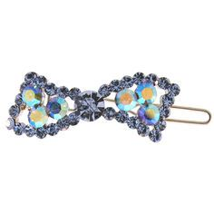 """Something BLUE!  1 3/8"""" Curved Rhinestone Bow Barrette in Blue with Silver Tone finish"""