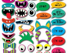 39 Hilarious INSTANT DOWNLOAD Monster Photo Booth Props Great for Monster Themed Parties DIY (Pdf and Jpeg)