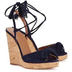 Aquazzura Wild One Navy Suede Wedge Sandals (380 BRL) ❤ liked on Polyvore featuring shoes, sandals, wedges, heels, embellished wedge sandals, suede sandals, tassel sandals, heeled sandals and slingback sandals