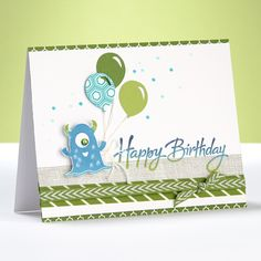 4 Awesome Birthday Cards for Kids. And check out awesome stamping techniques, like ombre!