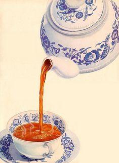 Lovely blue and white tea art Tea Illustration, Posters Vintage, Cuppa Tea, Tea Art, My Cup Of Tea, Food Illustrations, High Tea, Drinking Tea, Afternoon Tea