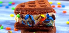 Chocolate Waffle Ice Cream Sandwich with M&M's candy close-up