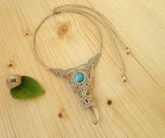 Larimar macrame necklace crystal quartz wand macrame