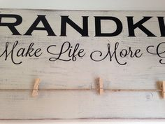 Grand kids make life more grand! Photo holder with clothespins. Mothers Day gift, pregnancy reveal or announcement. Gift to grandparents. by TinasTinkers on Etsy