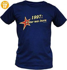Jahrgang Shirt - 1997 A Star was Born - bedrucktes T-Shirt mit lustigem Motiv als Geschenk zum Geburtstag in Weiss, Größe:L (*Partner-Link)