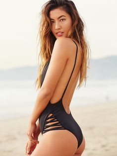 Olivia One Piece | One piece swimsuit in a cheeky fit with a low scoop back and crisscross side straps. American made.