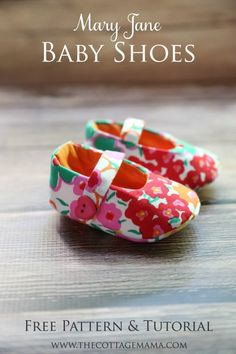 Mary Jane Baby Shoes FREE Pattern and Tutorial from The Cottage Mama. www.thecottagemama.com. Nx