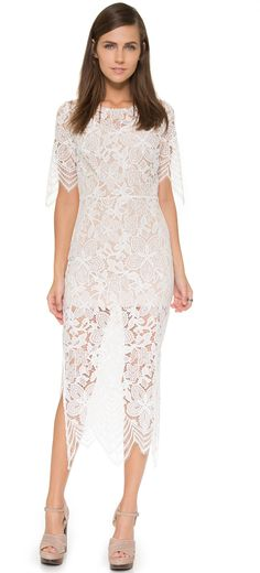 Form fitting lace midi dress with liner. For Love & Lemons Luna Maxi Dress