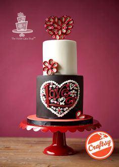 QUILLED LOVE Heart Cake - Cake by Violet - The Violet Cake Shop