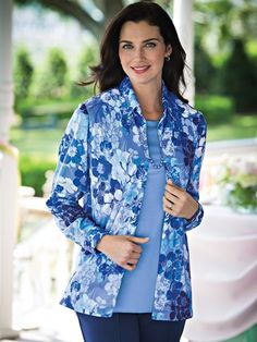 Print Twinset with Free Necklace - <p> A FREE necklace completes this beautifully versatile twinset. Rich floral print shirt has a button front and cuffs; side vents. Approx. 29
