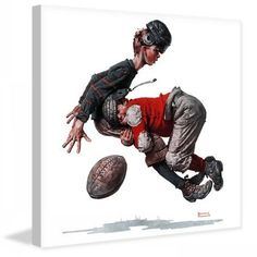 Marmont Hill Fumble or Tackled by Norman Rockwell Painting Print on Canvas, Size: 24 inch x 24 inch, Multicolor