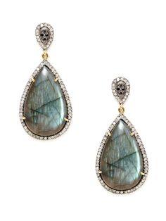 Multicolor Diamond & Labradorite Double Teardrop Earrings by Dorie Love on Gilt.com