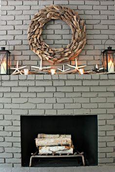 Driftwood themed mantel decor.