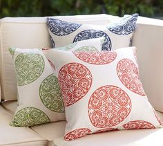 I'm really digging on this one - in red.  http://www.potterybarn.com/products/greta-medallion-outdoor-pillows/?pkey=e%7Cmedallian%2Bpillows%7C4%7Cbest%7C0%7C1%7C24%7C%7C3&cm_src=PRODUCTSEARCH||NoFacet-_-NoFacet-_-Pillows