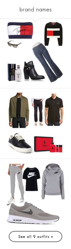 """""""brand names"""" by jason-becz ❤ liked on Polyvore featuring Tommy Hilfiger, Ralph Lauren, men's fashion, menswear, NIKE, Converse, Balmain, Gap, Topshop and adidas Originals"""