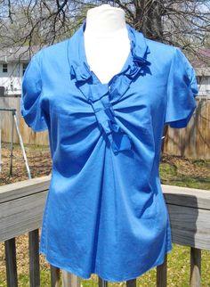 ELIE TAHARI Blue Career Ruffled Shirt Top, Size Medium ~ Short Sleeves #ElieTahari #Blouse #Career