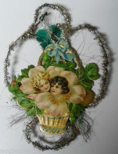 Old 1800's Victorian Diecut Tinsel Christmas Ornament Girls in Flower Basket | eBay