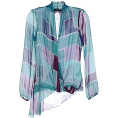 PATRIZIA PEPE SERA Blouse (7.710 RUB) ❤ liked on Polyvore featuring tops, blouses, turquoise, blue long sleeve top, long sleeve tops, long sleeve blouse, v neck tops and abstract top