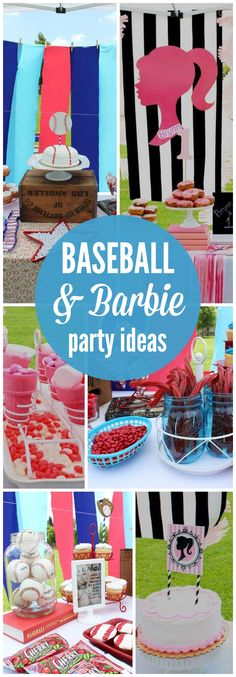 This cool party combines baseball and Barbie!  See more party ideas at CatchMyParty.com!