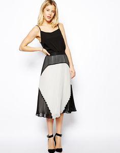 ASOS - Pleated Midi Skirt in Color Block
