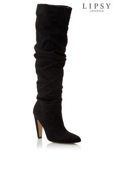 Black Lipsy Knee High Ruched Leg Boots