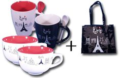 """Until December 31st, 2012, for 2 mugs + 2 jumbo bowls of """"Eiffel"""" collection purchased, we add 1 FREE Shopping bag to your parcel http://www.eiffel-tower-forever.com/en/45-shot-glasses-vodka-glasses"""