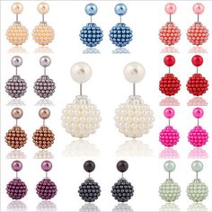 New Hot Selling Paragraph 2015 Candy Color Round Ball Earring Double Side Shining Stud Earrings Big Acrylic Earrings Women