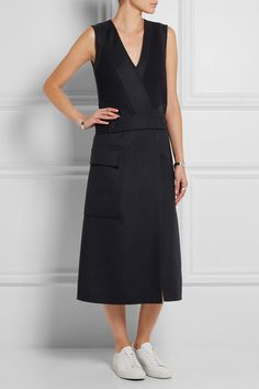 Jil Sander | Ribbed-knit and wool and cashmere-blend felt dress | NET-A-PORTER.COM