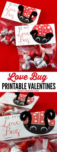 These Love Bug Printable Valentine's Day Cards are easy to make! What great Valentine's Day Treat Bag Toppers! Print them for free and in a few simple steps you have an adorable Valentine Treat! How cute are the pipe cleaner bug antennas! | http://OHMY-CREATIVE.COM