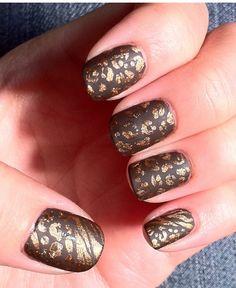 Gold cheetah/zebra over  - Essie Little Brown Dress  - Essie Matte About You