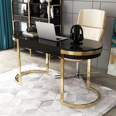 Black Office Desk Modern Gold Writing Desk with 2 Drawers Stainless Steel Legs Lacquer Oval Desk Home Office Decor, Black Desk Office, Office Desk Decor, Modern Office Desk, Desk Modern Design, Gold Office Decor, Work Office Decor, Glass Desk Office, Office Design