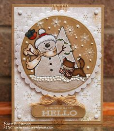 Christmas card on kraft ... adorable snowman image on die cut circle ... lots of snowflakes and perfect pearls too ...