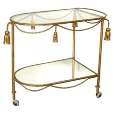 Check out this item at One Kings Lane! Gilded Rope & Tassel Bar Cart