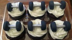 Decorated Dumbell Weight Lifter Cupcakes