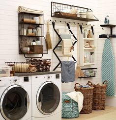 34 Practical Home laundry room design ideas in 2018 Tags: Laundry room decor Small laundry room ideas Laundry room makeover Farmhouse laundry room Laundry room storage Laundry room shelves Laundry room organization Mud room Utility room ideas Laundry room Laundry Room Organization, Laundry Room Design, Organization Station, Organization Hacks, Organizing Tips, Laundry Storage, Laundry Shelves, Laundry Baskets, Laundry Room Drying Rack